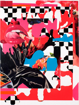 "Mouth Dissolve, 2008. 36 x 24"". Collage on paper."